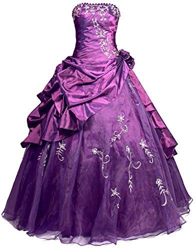 FairOnly R37 Frauen Trägerlosen Abendkleid Ballkleid (XXL, Lila)