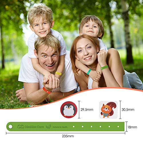 MeaMae Care Bracelet Anti Moustique Enfant extérieur 【12 pièces】 + Patchs Anti-moustiques Autocollants 【24 pièces】 Bracelet réglable 100% Naturel pour Adultes et Enfants Anti Insectes Bande Répulsif