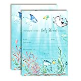 Underwater Cute Sea Life-Themed Baby Sprinkle Shower Invitations, 20 5'x7' Fill in Cards with Twenty White Envelopes by AmandaCreation