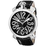 Gaga Milano uomo 48mm nero coccodrillo pelle Band orologio meccanico 501004S