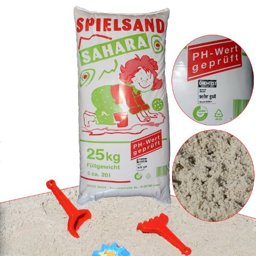 WECO Qualitäts SPIELSAND 25kg ÖKO-Test TÜV PH-Wert geprüft Sand für Sandkasten