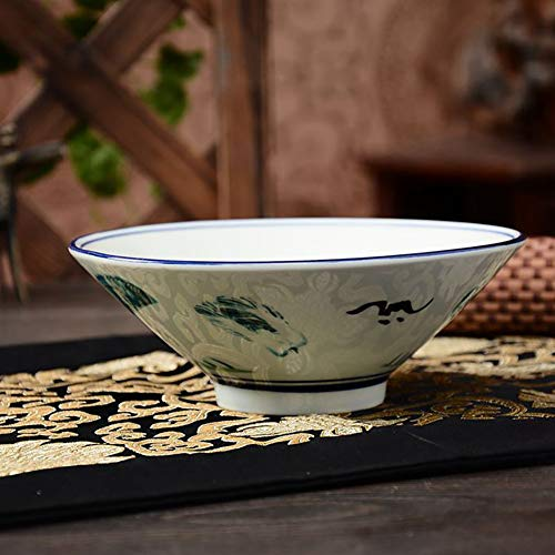Zhuowei Vintage Giapponese Stile Fiore Dipinto A Mano Classica Ceramica Stoviglie Cucina Zuppa Noodle Riso Ciotola di Frutta Insalata Ciotola Grande Ramen Noodle Riso Ciotola Regalo, 8inches