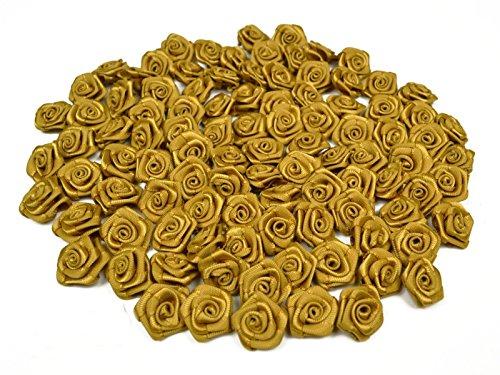 Rosen 15 mm x 100 Stück Satinrosen Aufnäher Deko Blumen Röschen zum Basteln Haarschmuck kleine Rosenköpfe Farbe: gold 687