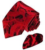 LORENZO CANA - Luxus Paisley Set aus 100% Seide - Krawatte mit Einstecktuch - Schwarz Rot - 8448501