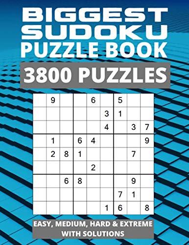 Biggest Sudoku Puzzle Book - 3800 Puzzles - Easy, Medium, Hard & Extreme with Solutions: Jumbo Sudoku Puzzle Book, Huge Sudoku Book for Adults, Easy to Hard