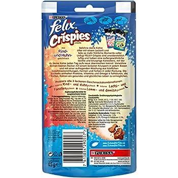 Felix Crispies Lot de 8 sachets de friandises pour Chat avec protéines, vitamines et acides Gras oméga 6 (8 x 45 g)