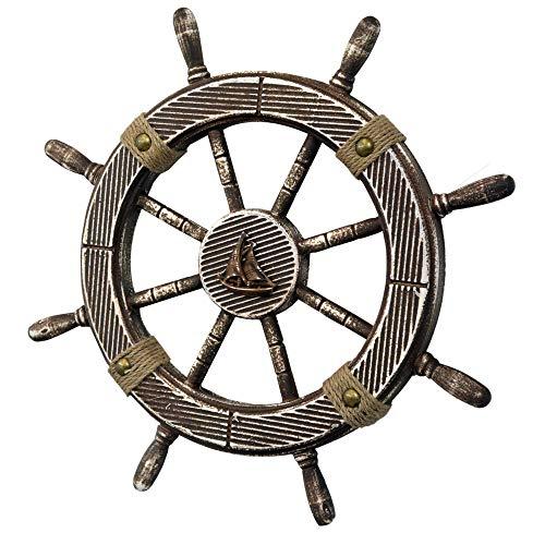Hogar y Mas Timón Barco Figura Decorativa de Madera y Cuerda, Decoración de Pared Vintage. Diseño Marinero/Original ø44 cm