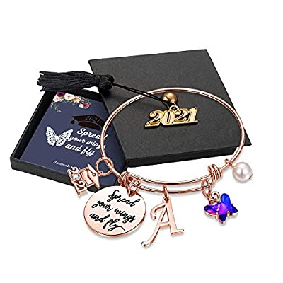 Inspirational Graduation Gifts for Her 2021, Engraved Inspirational Bangle with 2021 Graduation Grad Cap Mantra Quote Spread Your Wings And Fly Charm Bracelet Graduation Friendship Gifts(Rose Gold A)