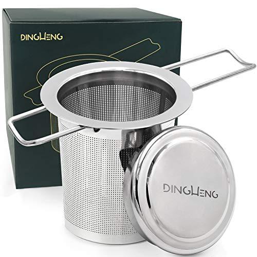 DINGHENG Teesieb Teefilter und Deckel/Abtropfschale,Rostfreies 304 Edelstahl Tee-Sieb für losen Tee,Premium Sieb,Faltbare Griffgestaltung Passend für die Meisten Tee-Tassen und Tee-Schalen
