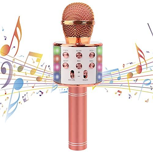 Karaoke Mikrofon Drahtloses Bluetooth mit LED Leuchten für Kinder Tragbares...
