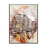IUYTRF Amsterdam en acuarela arte lienzo póster decoración del hogar pintura -50X70cm sin marco 1 Uds