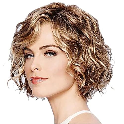 Productos de cuidado de la salud y Herramientas 1PC Cabello ondulado pelucas Bob mixto sintético de color marrón corto rizado ondulado peluca de aspecto natural peluca de calor fibra