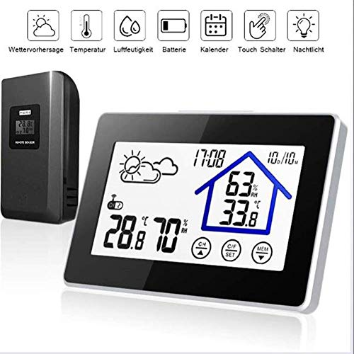SDRFSWE Indoor Hygrometer Thermometer, Digitale Temperatuur Vochtigheid Monitor, Kamer Thermometer Met Comfort Icon, Touch Screen,°C/°F Schakelbaar Voor Slaapkamers, Kantoor, Woonkamer, Cafés,Zwart