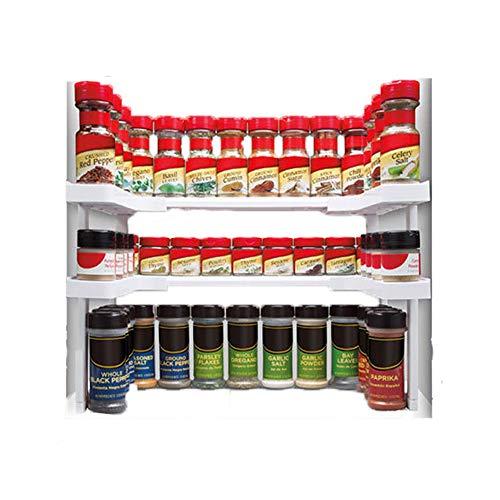 apilables Especiero Cocina Organizador estantería Especias Soporte de hierbas Estantería Estantería de almacenaje ajustable estante para armarios hasta 64 Especias para latas y vasos para arma