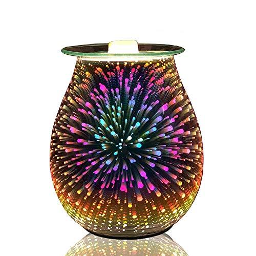 Electric Wax Melt Burner, Wax Melt Warmer, 3d Glass Fireworks Fragrance Oil Burner, Home Office Bedroom Living Room Gifts