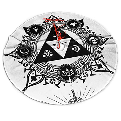 Christmas Tree Skirt Zelda Tattoo Print Wood Floor Protective Mat Xmas Decorations 36 Inches