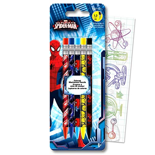 Ultimate Spider-Man Mechanical Pencil Set Bundle Includes 5 Amazing SpiderMan Pencils with Colorful Fun Separately Licensed GWW Bookmark