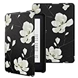MoKo Funda Compatible con Kindle E-Reader 2019, Ultra Delgada Ligera Smart-Shell Soporte Cover Case Compatible con Kindle 10th Generation 2019 Release - Negro & Blanco Magnolia