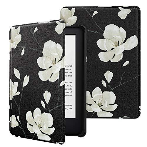 MoKo Funda Compatible con Kindle 10th Generation 2019 Release (Modelo No J9G29R), Ultra Delgada Ligera Smart-Shell Soporte Cover Case (No para Kindle Paperwhite) - Negro & Blanco Magnolia