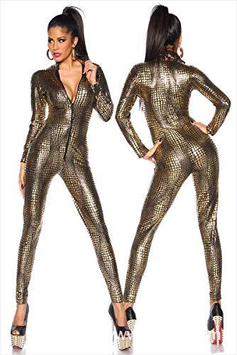 Latex Catsuit Colourful House Womens Kostüm Schlangenleder Print Reißverschluss Leder Engen Overall Catsuit Halloween,Gold,L
