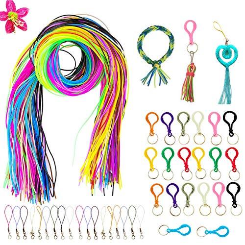 200 PCS hilo Plastico, Cuerda, Cordón Plástico,Cordones de Plástico Trenzado, Cuerda Trenzada de Colores Para Manualidades, Pulseras de la Amistad.