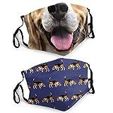 Novelty Graphic Face Mask Beagle Dog Cartoon Mouth Art Print Adult Face Bandanas Shield Facial Decorations 2PCS