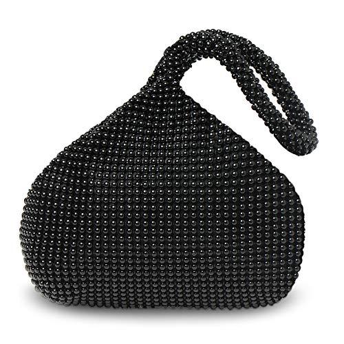 BABEYOND 1920s Flapper Handbag Clutch Gatsby Crystal Handbag Roaring 20s Evening Clutch Bag 1920s Gatsby Costume Accessories (Black2)