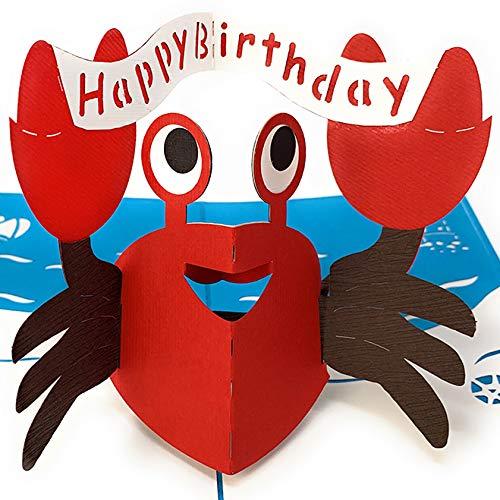 Geburtstagskarte, Krabbe mit Happy Birthday Banner, 3D-Pop-up-Karte, Originelle Glückwunschkarte Alles Gute zum Geburtstag, Grußkarte, Geschenkkarte, Geburtstagskarten, Geburtstagsbillet