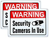 Large Warning Video Surveillance in Use Sign,Security Cameras in use Sign,Large 10x14 Inch Aluminum UV Ink Printed for House and Business (2-Pack)