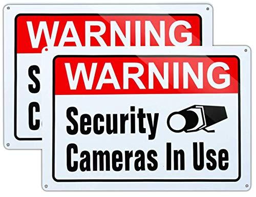 Señal de vigilancia de vídeo en uso, tamaño grande, 10 x 14 pulgadas, tinta UV impresa para casa y negocios, Paquete de 2 (10 x 14 pulgadas).