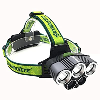 Headlamp LED, Multi-Modes Headlight, Rechargeable Lithium-Ion Battery Powered Light for Camping, Running, Hiking and Outdoor Sports. Waterproof. Rechargeable Batteries Included.