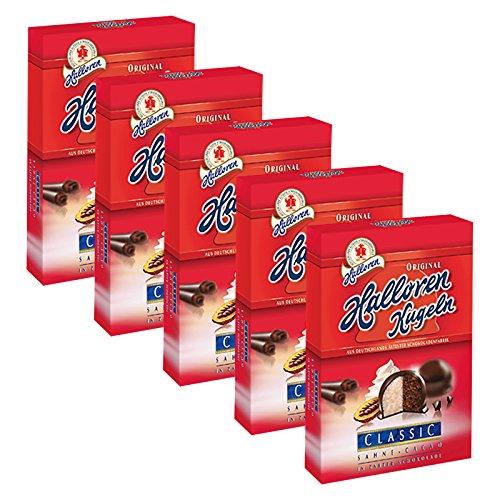 5er Pack Original Halloren Kugeln SAHNE-CACAO (5 x 125 g) - Motiv der Verpackung kann abweichen - Schokolade, Schokoladenkugeln, Pralinen