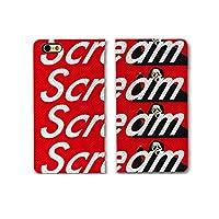 chatte noir iPhone11ProMax ケース 手帳型 おしゃれ Scream スクリーム ボックスロゴ 映画 A シボ加工 高級PUレザー 手帳ケース ベルトなし