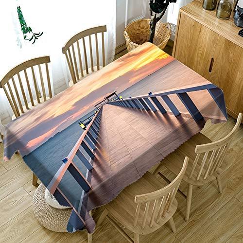Rubyia - Tovaglia rettangolare con motivo a ponte in legno, facile da pulire, 140 x 180 cm, colore: Bianco