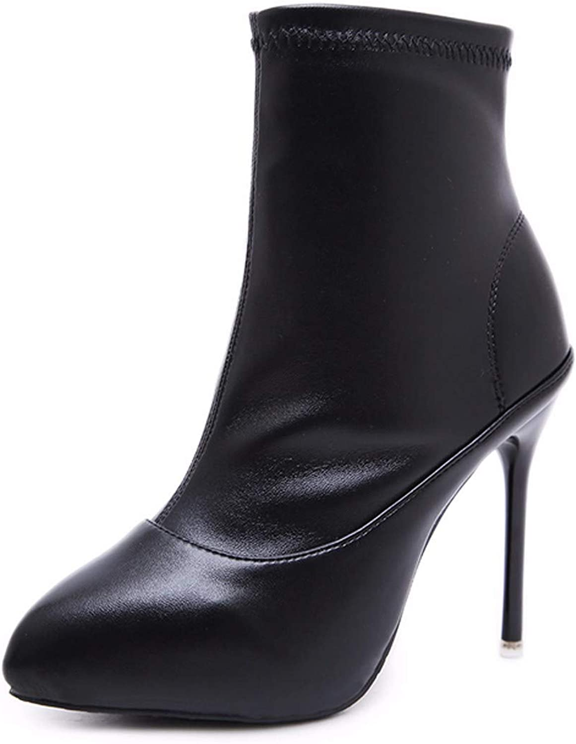 SFSYDDY Popular shoes Leather Boots with High 11Cm One Foot Pedal Short Tube Thin Heel Sharp Head and Velvet.
