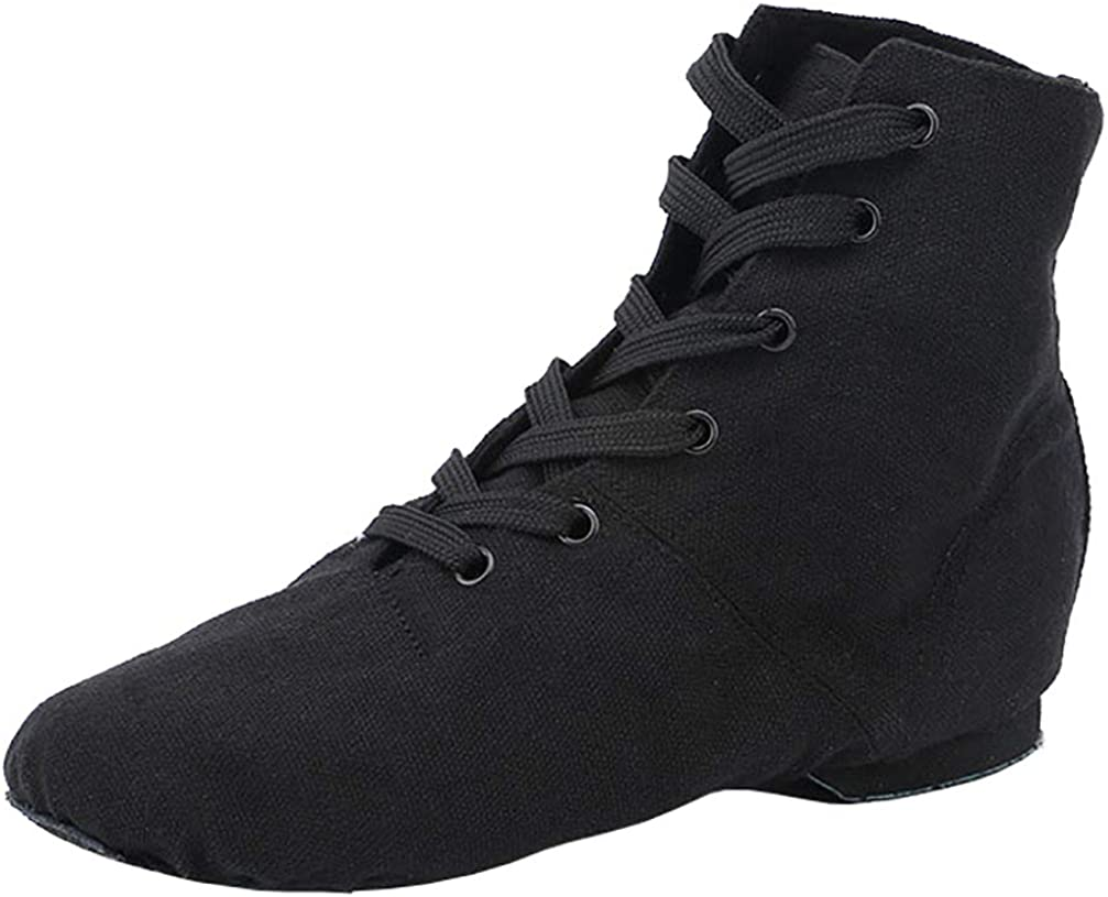 missfiona Womens Canvas Over The Ankle Jazz Dance Boots Lace-up
