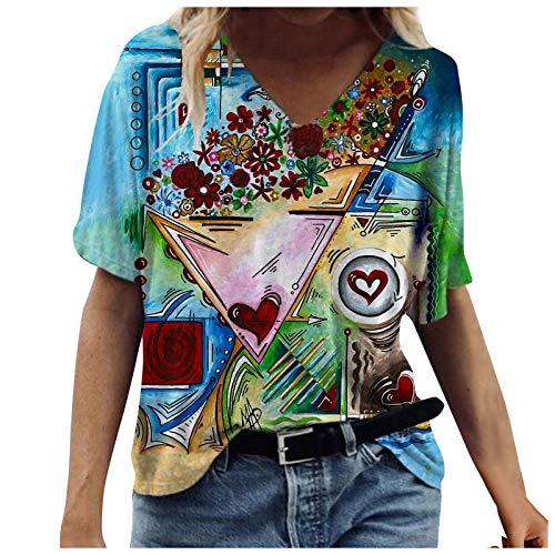 Bluse Damen Sommer Vintage Drucken Oberteile Kurzarm T-Shirt V-Ausschnitte Pullover Tunika Top Basic Sportshirt Frauen Bequem Einfachheit Tee Tops Casual Shirt Hemd Bluse Teenager Mädchen