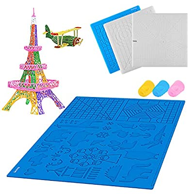 Gnvtntp 3D Printing Pen mat, with 3D Drawing Stencils Basic Templates,16.5x11inch, Pack with Extra Gift 2 Silicone Finger Caps–Blue 3D Pen mat for Kids & Adults STEM Activity,Great Christmas Gift