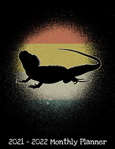 2021 - 2022 Monthly Planner: Vintage Retro Bearded Dragon Silhouette Lover Daily Weekly Monthly Planner - 24 Months Jan 2021 to Dec 2022 Diary, ... Inspirational Quotes, Notes, To Do's and More