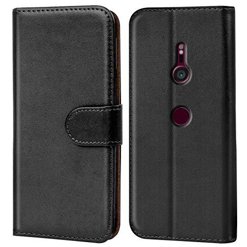 Verco Xperia XZ3 Hülle, Handyhülle für Sony Xperia XZ3 Tasche PU Leder Flip Case Brieftasche - Schwarz