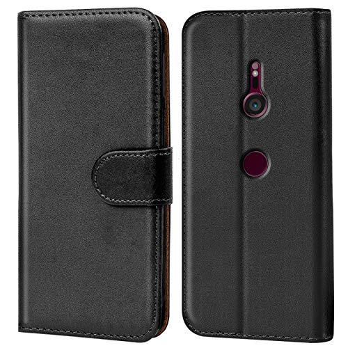 Verco Xperia XZ3 Hülle, Handyhülle für Sony Xperia XZ3 Tasche PU Leder Flip Hülle Brieftasche - Schwarz