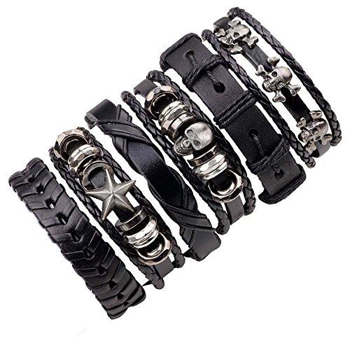 Herren Armband Set Leder Lederarmband Geflochten Armreif mit Stern Totenkopf Größe Verstellbar 6 Stück Schwarz