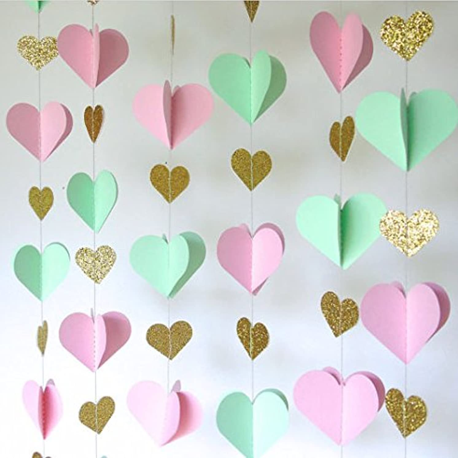 Gold Pink Green 3D Heart Garland Baby Birthday Balloon Tail Party Decoration Set of 2 ,Total 26 feet.