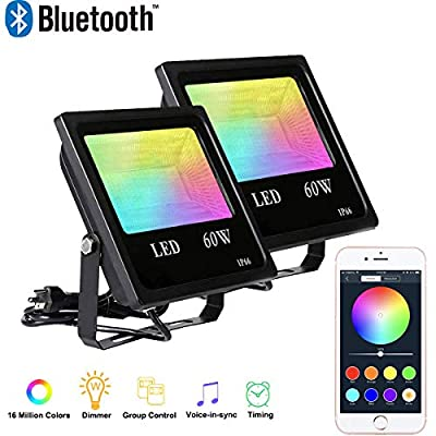 2 Pack 60W RGBW Led Flood Light,Bluetooth App Control LED Flood Lights,IP66 Waterproof Dimmable Outdoor Led Security Lights,Color Changing LED Landscape Lights,Dimmer and Memory Function Stage Light