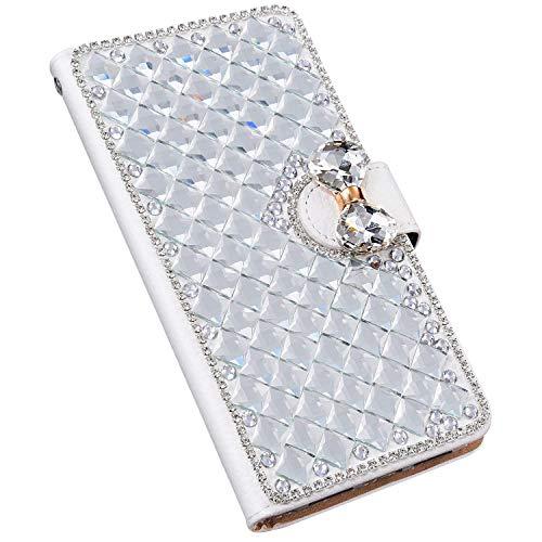 Jinghuash Kompatibel mit Nokia 3.2 Hülle Glänzend Glitzer Schmetterling Diamant Kristall Brieftasche Leder Card Holder Magnetisch Folio Flip Schutzhülle Mädchen Frauen Silber