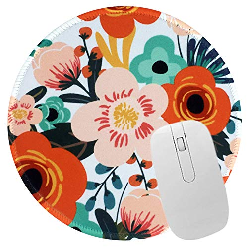 Mouse Pad Floral Pattern Mousepad Non-Slip Rubber Base Design Mousepad with Stitched Edge Mouse Pad for Office and Home