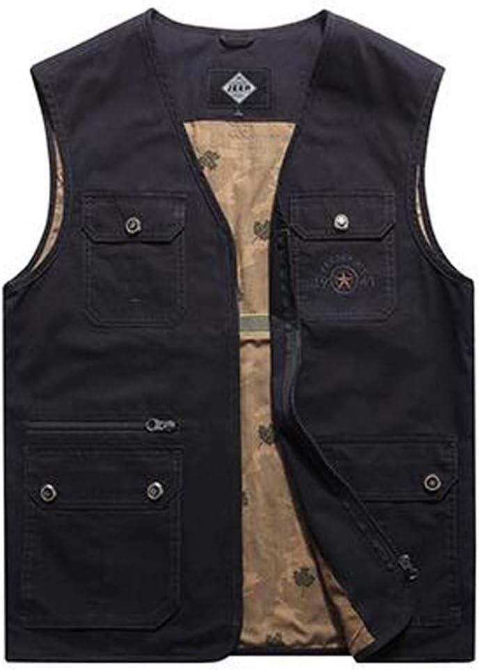 FHK Vest Multi-Size Outdoor Casual Large Size Multi-Pocket Jacket Workwear Jacket (Color : Black, Size : XXXXL)