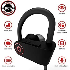 Wireless Headphones   Best Wireless Earbuds  Wireless Workout Earphones   Running Workout Sport Headphones   Sweatproof HD Stereo Earbuds   Noise Cancelling Headset Sports for Women Men Mic 9 Hours