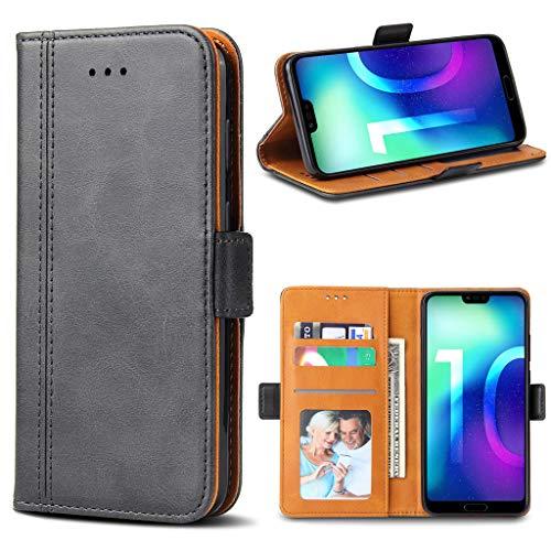 Bozon Honor 10 Hülle, Leder Tasche Handyhülle für Huawei Honor 10 Flip Wallet Schutzhülle mit Ständer & Kartenfächer/Magnetverschluss (Dunkel-Grau)