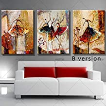 SANSNMI Hand Painted Canvas Oil Painting 3 Panel Set Modern Abstract Dancing Girl Home Decoration Wall Art Picture For Living Room,35x50cmx3p,A2